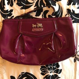 Raspberry Patent Leather Coach Wristlet